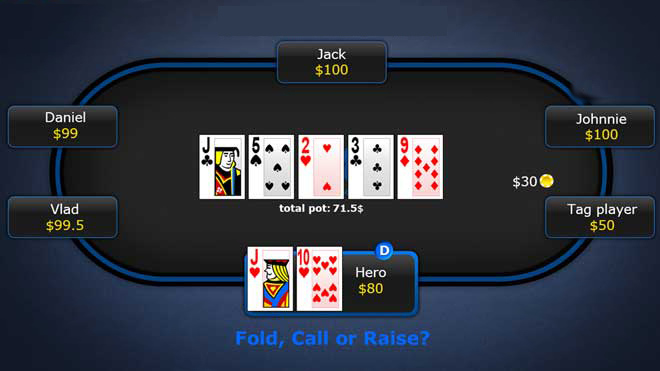 مثال ۲: مقابله با بازیکنان سفت تهاجمی پوکر میز ۶ نفره هولدم نامحدود